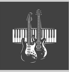 Two guitars and piano keyboard vector