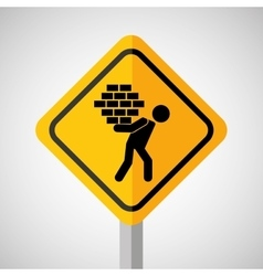 Under construction road sign man brick hold vector