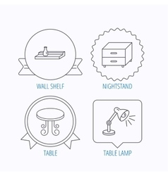 Vintage table lamp and nightstand icons vector image