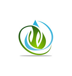 water and leaf vector image