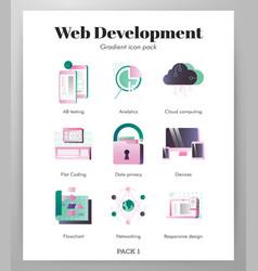 web devolopment icons gradient pack vector image