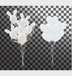 white balloons in the shape of a heart on a vector image