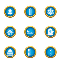Winter home icons set flat style vector