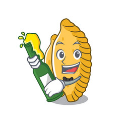 With beer pastel mascot cartoon style vector