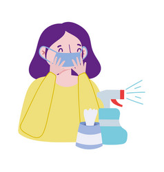 Woman with mask spray bottle and tissues box vector