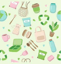 zero waste concept seamless pattern with different vector image