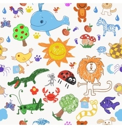 Childrens drawing doodle animals trees and sun vector image