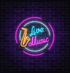neon sign of bar with live music advertising vector image vector image