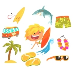 Boy Surfer Extreme Sportsman Kids Future Dream vector image vector image