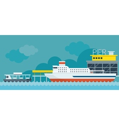 Ferry Boat Pier Flat Design Objects vector image
