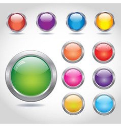 Round blank web buttons with metal rings vector image