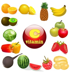 vitamin C in foods of plant T vector image vector image