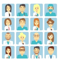 Doctor and nurse flat avatars vector image vector image