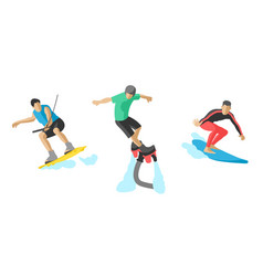 jumping extreme athletes silhouettes vector image vector image