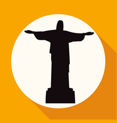 Statue of jesus on white circle with a long shadow vector