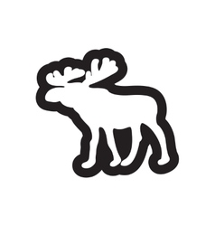 Flat icon in black and white style Elk vector image