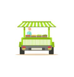 flat street fresh food cart with fresh food vector image vector image