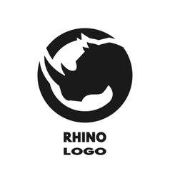 Silhouette of the rhino monochrome logo vector image