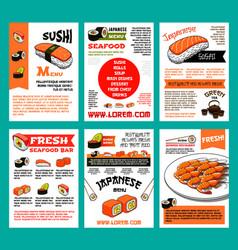 sushi menu template set for japanese food design vector image vector image