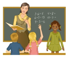Teacher at blackboard explains children mathematic vector image vector image