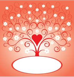 Valentine tree with flowers vector image