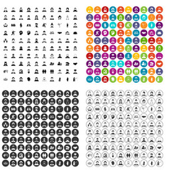100 people icons set variant vector image