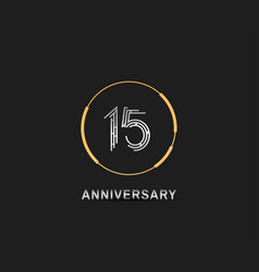 15 anniversary logotype with silver number vector