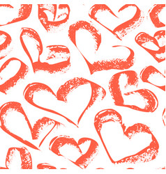 a seamless pattern of red hearts vector image