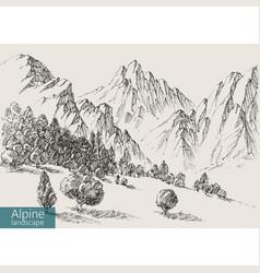 Alpine landscape valley vegetation and mountains vector