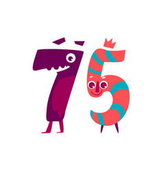animallike character number seventy five 75 vector image