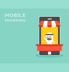 arab businessman in mobile stall mobile shopping vector image