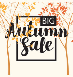 autumn sale banner with inscription and trees vector image