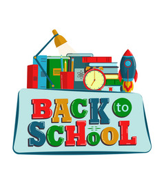 Back to school creative background with school vector