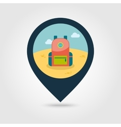 Backpack pin map icon Travel Summer Vacation vector
