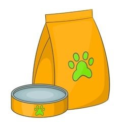 Bag of food for pets and food bowl icon vector