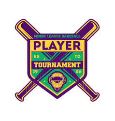 Baseball player tournament vintage label vector
