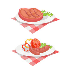 bbq set meat for barbecue on plate icon vector image