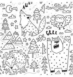 Black and white seamless pattern cute animals vector