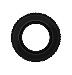 black car tire side view automobile parts theme vector image