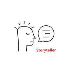 Black thin line storyteller simple icon vector