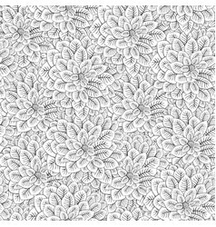 black white flowers seamless pattern vector image