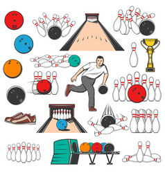Bowling sport game equipment pins and balls vector