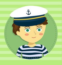 boy with captain hat cartoon avatar vector image