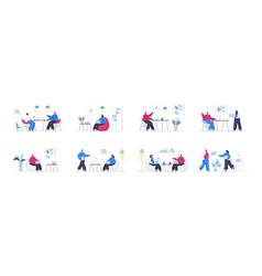 bundle coworking office scenes vector image