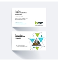 business card template with triangular vector image