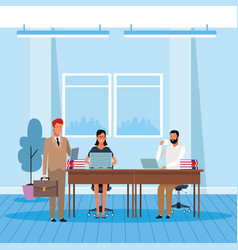 Businesspeople working colorful design vector