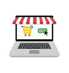 buy online store laptop with web shop vector image
