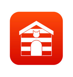 cat house icon digital red vector image