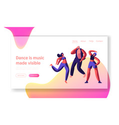 Character dancing on street landing page freestyle vector