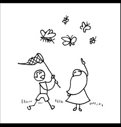 children catching butterflies with a net vector image